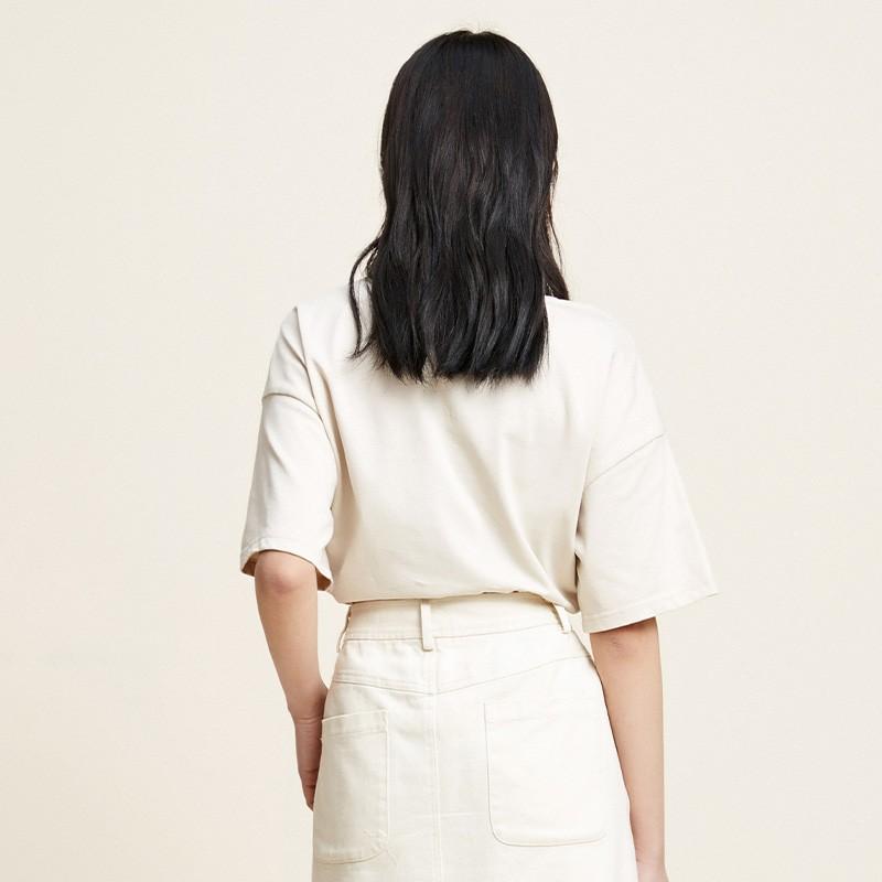 金苑2020春夏新款纯棉短袖T恤女宽松韩版圆领女上衣打底衫F20110711