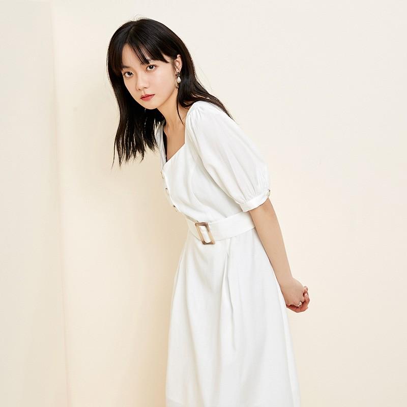 金苑法式优雅连衣裙女2020春装新款复古收腰气质中长裙女G2019024