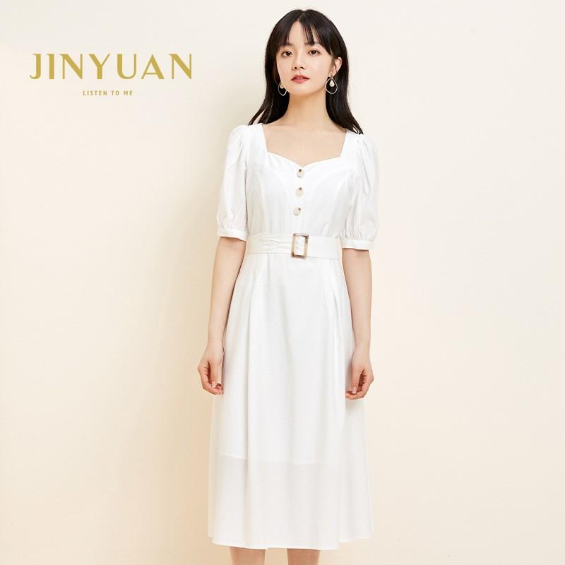 金苑法式优雅连衣裙女2020春装新款复古收腰气质中长裙女G2019021