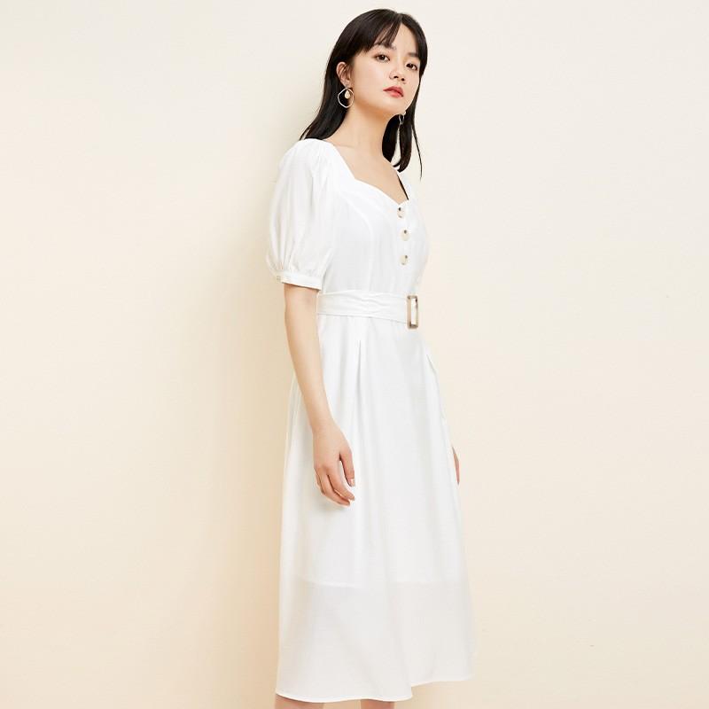 金苑法式优雅连衣裙女2020春装新款复古收腰气质中长裙女G2019023