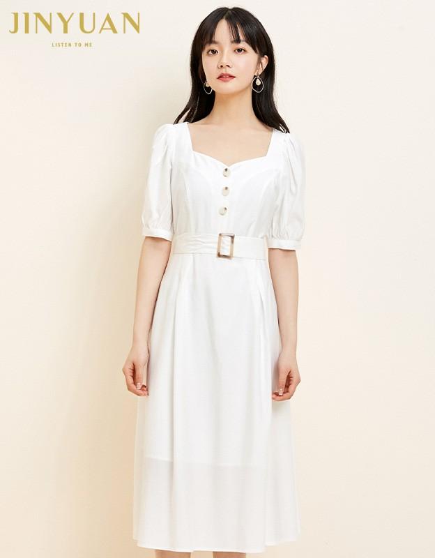 金苑法式优雅连衣裙女2020春装新款复古收腰气质中长裙女G2019027