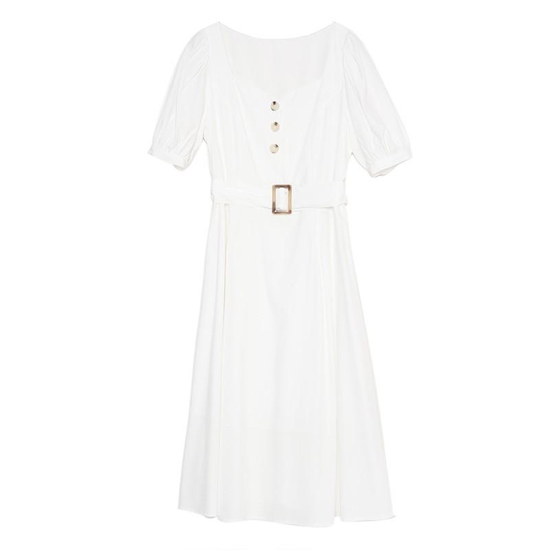 金苑法式优雅连衣裙女2020春装新款复古收腰气质中长裙女G2019026