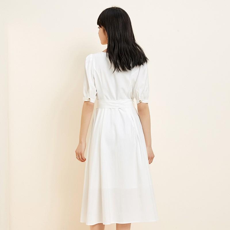 金苑法式优雅连衣裙女2020春装新款复古收腰气质中长裙女G2019025