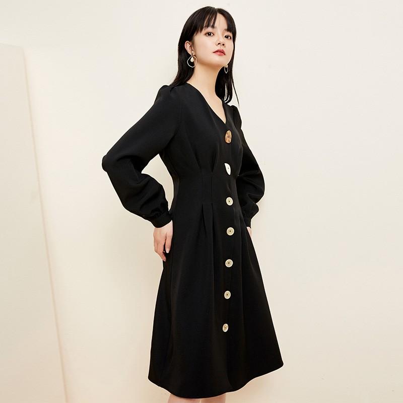 金苑小香风连衣裙女2020春新款高腰复古法式连衣裙小黑裙G2019054