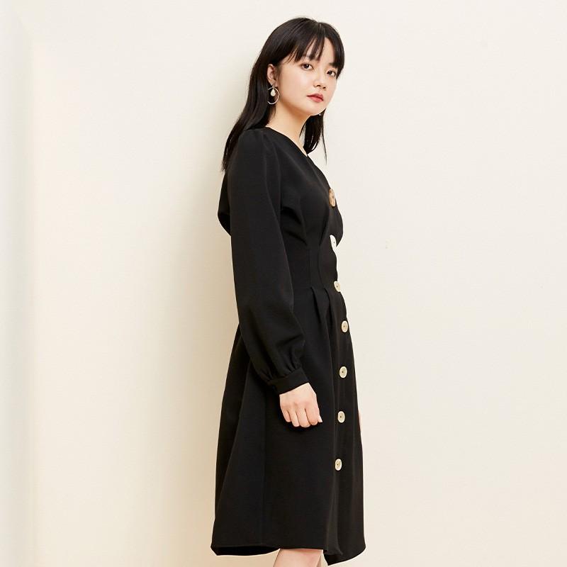 金苑小香风连衣裙女2020春新款高腰复古法式连衣裙小黑裙G2019052