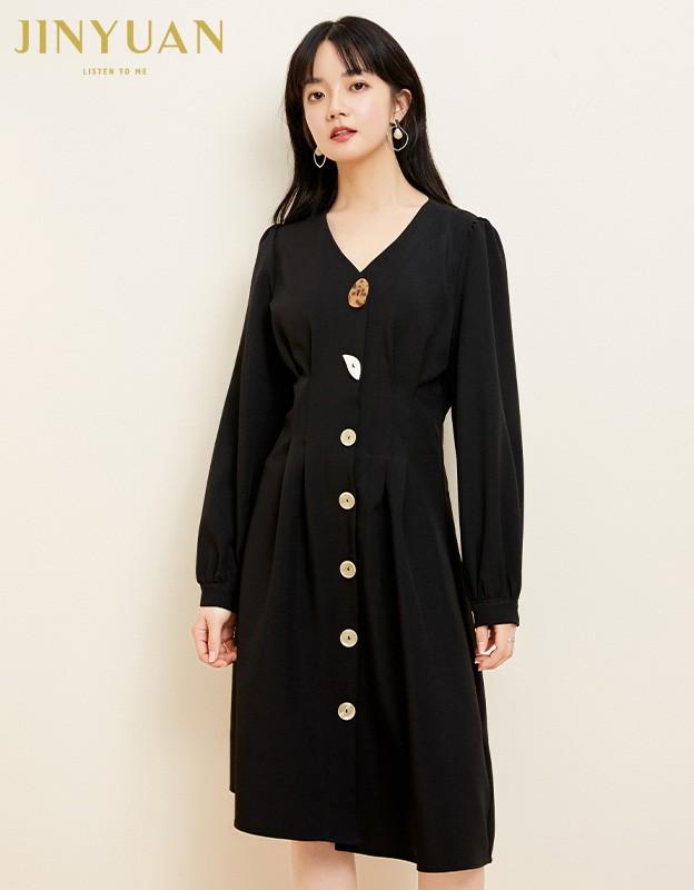 金苑小香风连衣裙女2020春新款高腰复古法式连衣裙小黑裙G2019057
