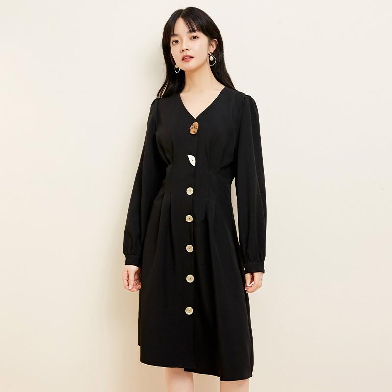 金苑小香风连衣裙女2020春新款高腰复古法式连衣裙小黑裙G2019053