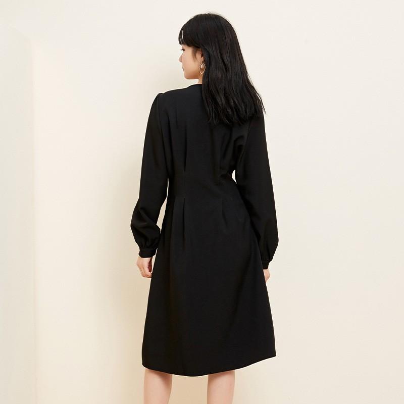 金苑小香风连衣裙女2020春新款高腰复古法式连衣裙小黑裙G2019055