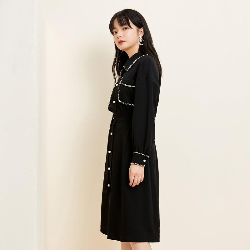 金苑复古小黑裙女2020春夏新款收腰显瘦气质赫本风连衣裙G2019032