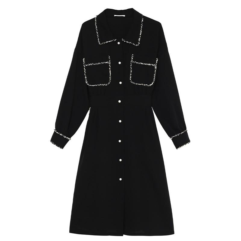 金苑复古小黑裙女2020春夏新款收腰显瘦气质赫本风连衣裙G2019036
