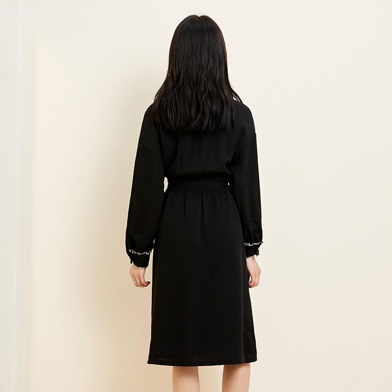 金苑复古小黑裙女2020春夏新款收腰显瘦气质赫本风连衣裙G2019035