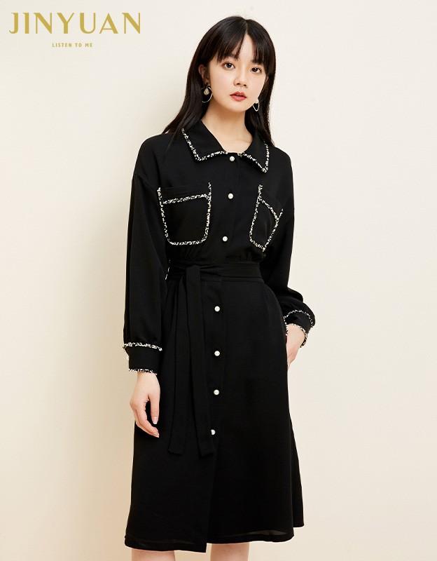 金苑复古小黑裙女2020春夏新款收腰显瘦气质赫本风连衣裙G2019037
