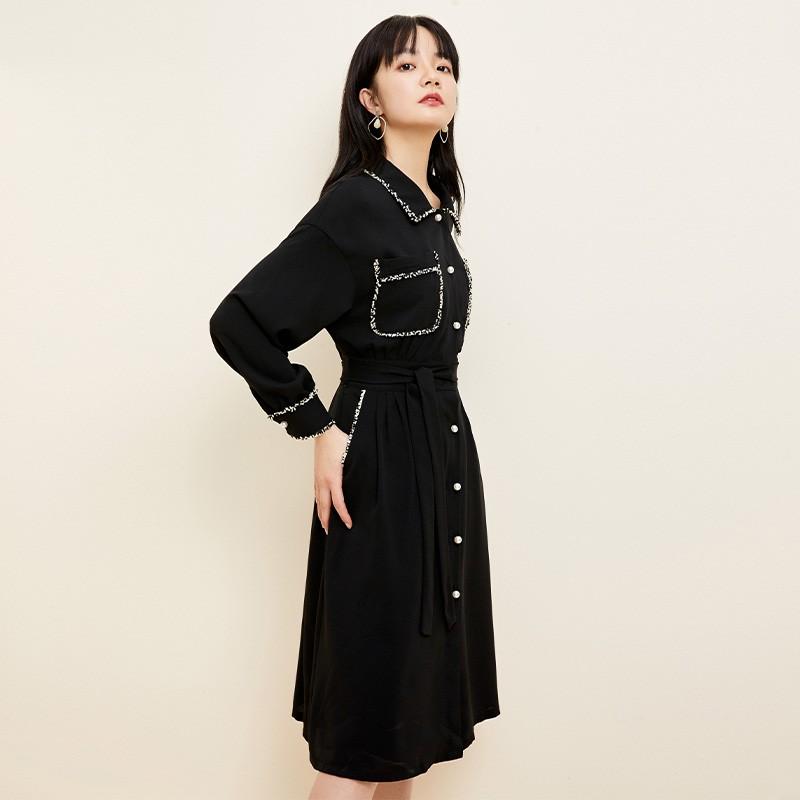 金苑复古小黑裙女2020春夏新款收腰显瘦气质赫本风连衣裙G2019034