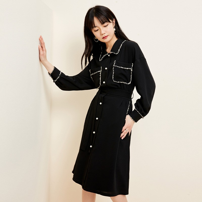 金苑复古小黑裙女2020春夏新款收腰显瘦气质赫本风连衣裙G2019033