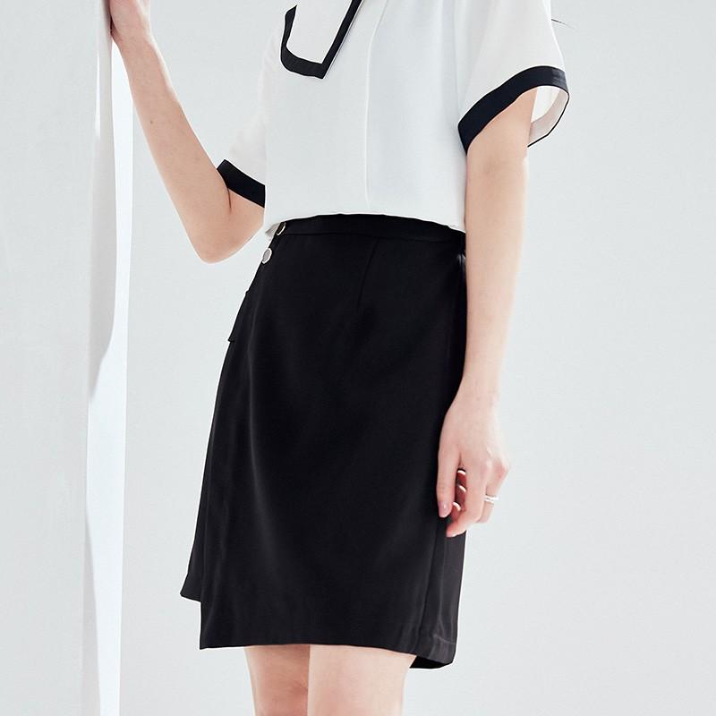 金苑2020夏新款高腰半身裙纯色职业短裙显瘦气质韩版a字裙B2021053