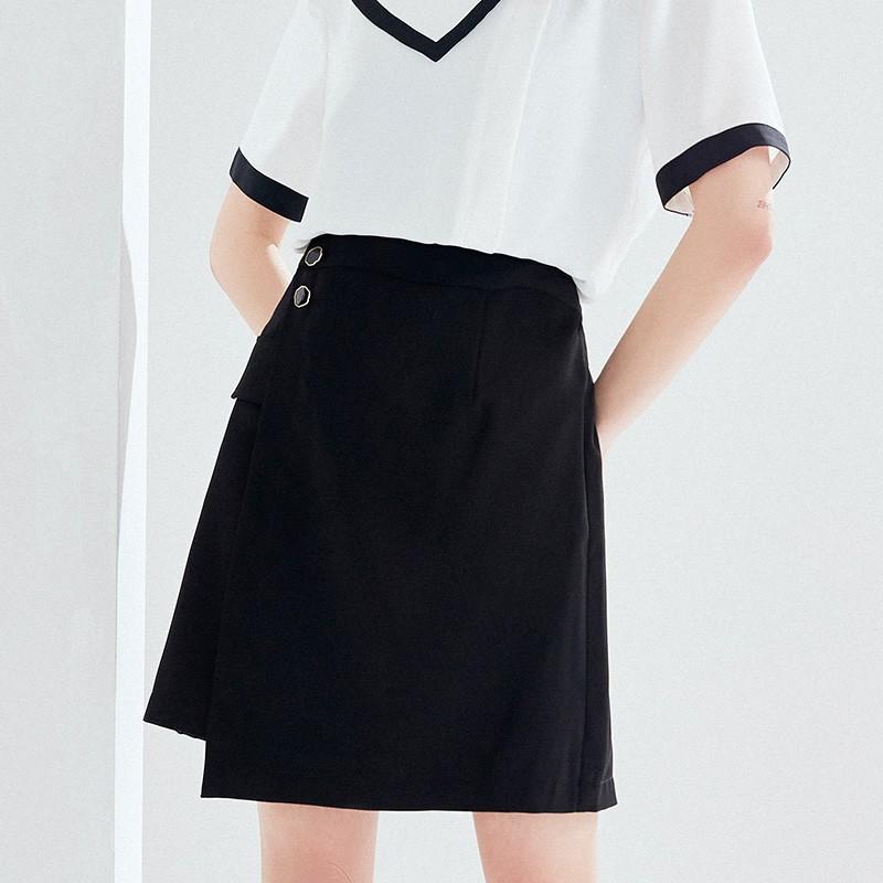 金苑2020夏新款高腰半身裙纯色职业短裙显瘦气质韩版a字裙B2021052