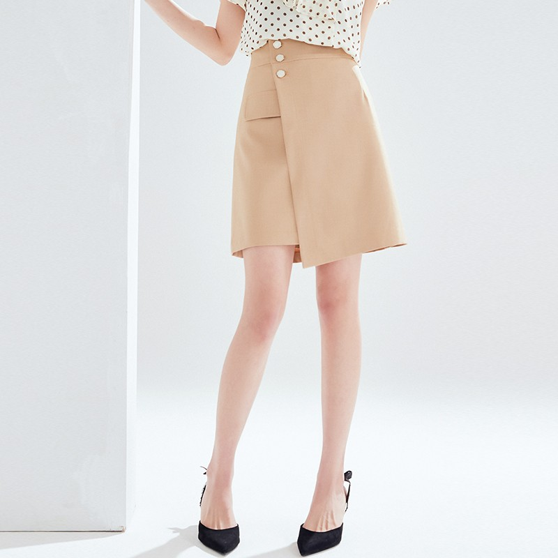 金苑2020夏新款高腰半身裙纯色职业短裙显瘦气质韩版a字裙B2021058