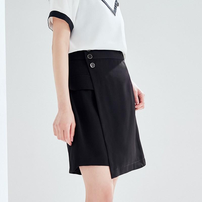 金苑2020夏新款高腰半身裙纯色职业短裙显瘦气质韩版a字裙B2021055