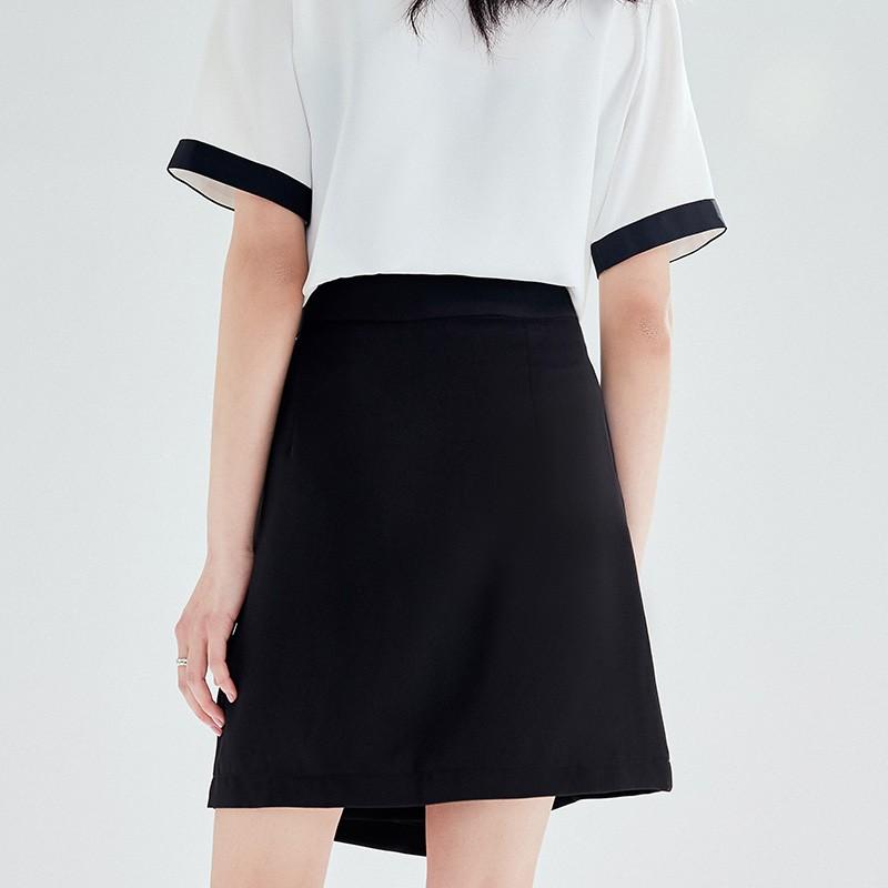金苑2020夏新款高腰半身裙纯色职业短裙显瘦气质韩版a字裙B2021054