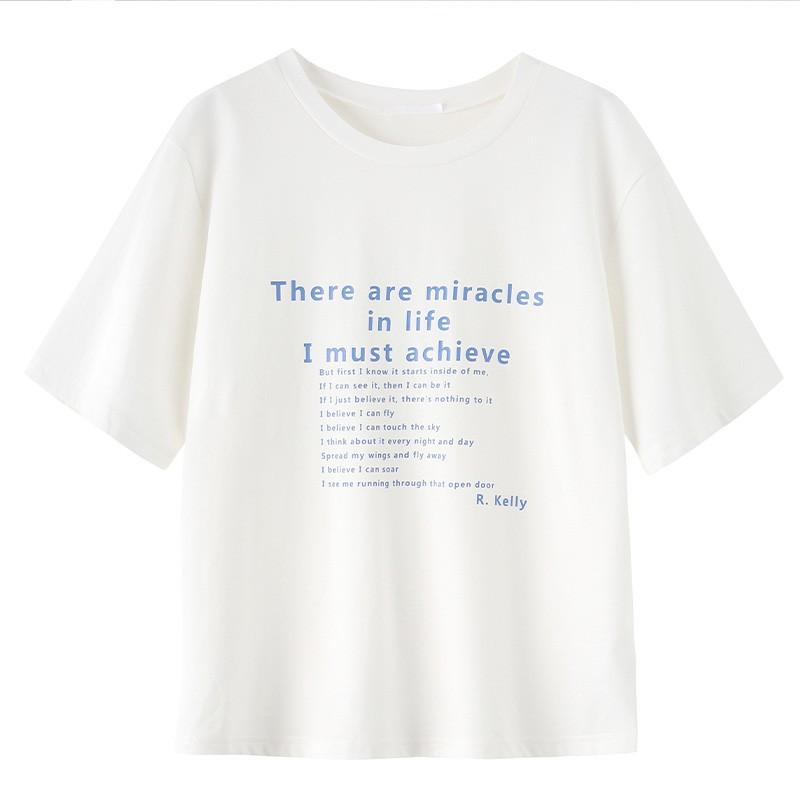 金苑短袖T恤女2020夏季亲肤纯棉打底衫宽松印花透气上衣女F2021065