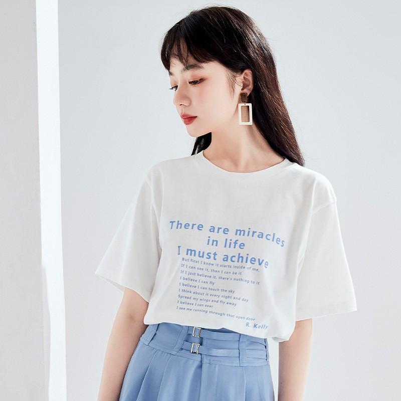 金苑短袖T恤女2020夏季亲肤纯棉打底衫宽松印花透气上衣女F2021064