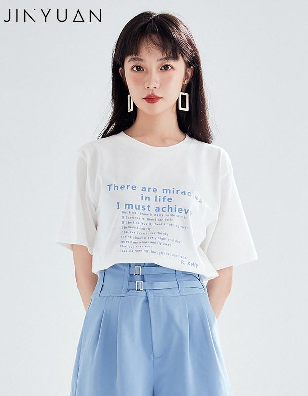 金苑短袖T恤女2020夏季亲肤纯棉打底衫宽松印花透气上衣女F2021068