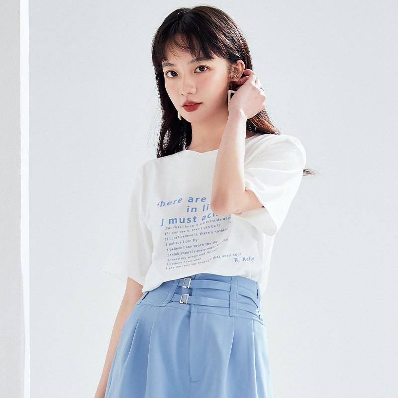 金苑短袖T恤女2020夏季亲肤纯棉打底衫宽松印花透气上衣女F2021062