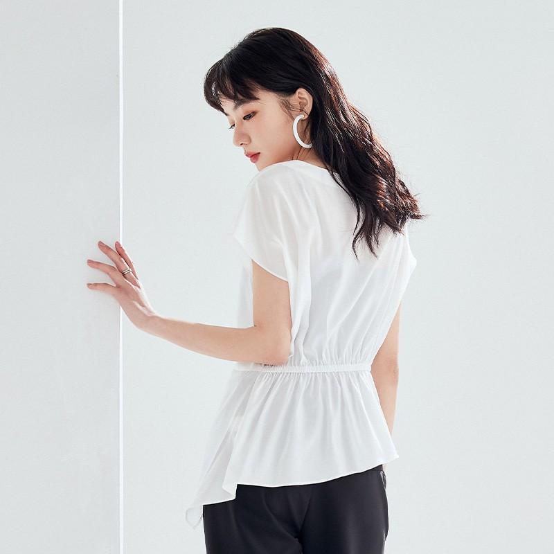 金苑女装衬衫设计感小众夏装新款宽松v领上衣显瘦收腰A2021134