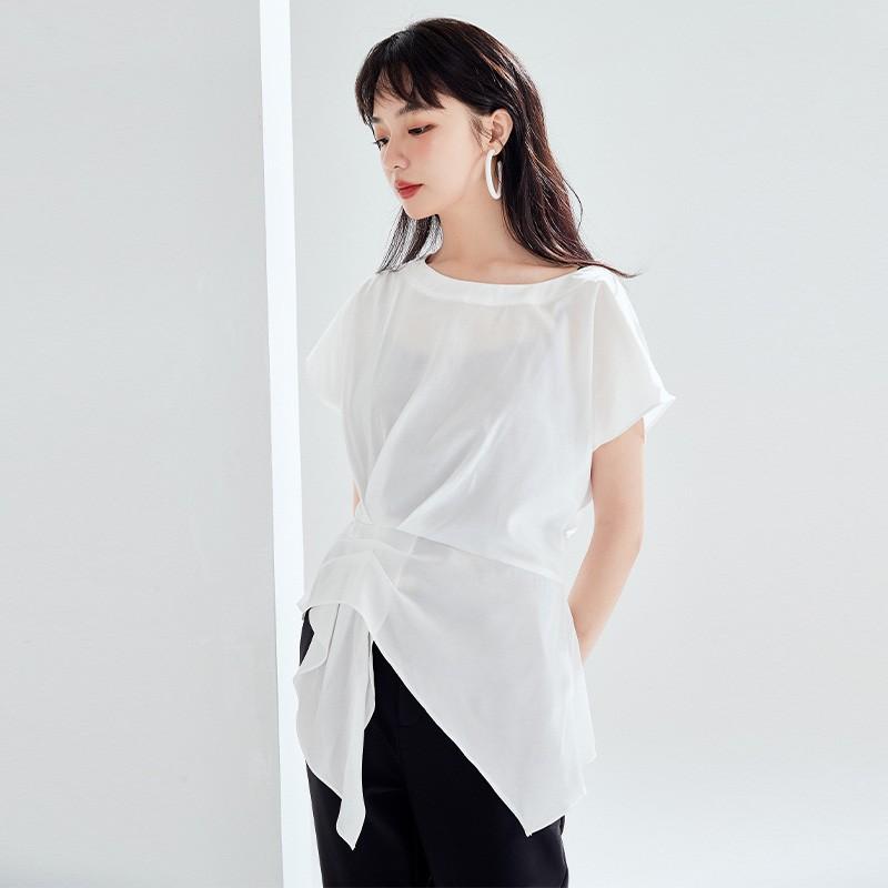 金苑女装衬衫设计感小众夏装新款宽松v领上衣显瘦收腰A2021136