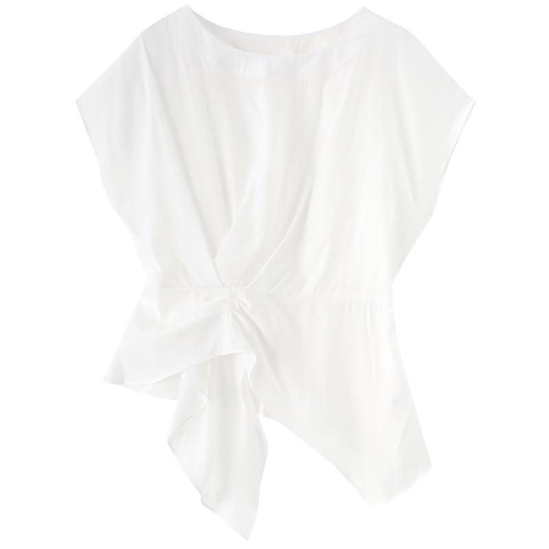 金苑女装衬衫设计感小众夏装新款宽松v领上衣显瘦收腰A2021135
