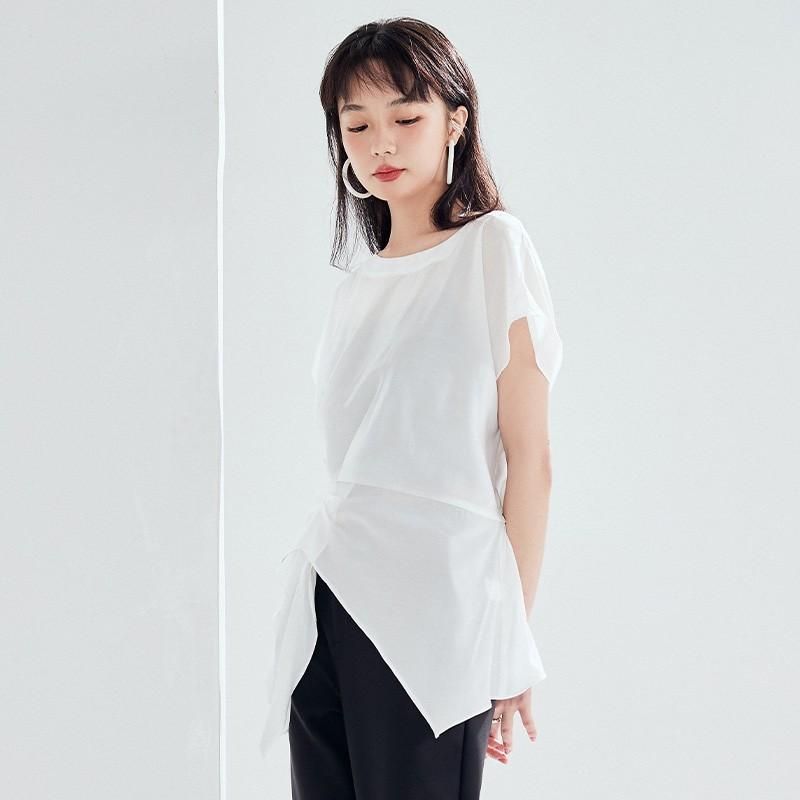 金苑女装衬衫设计感小众夏装新款宽松v领上衣显瘦收腰A2021132