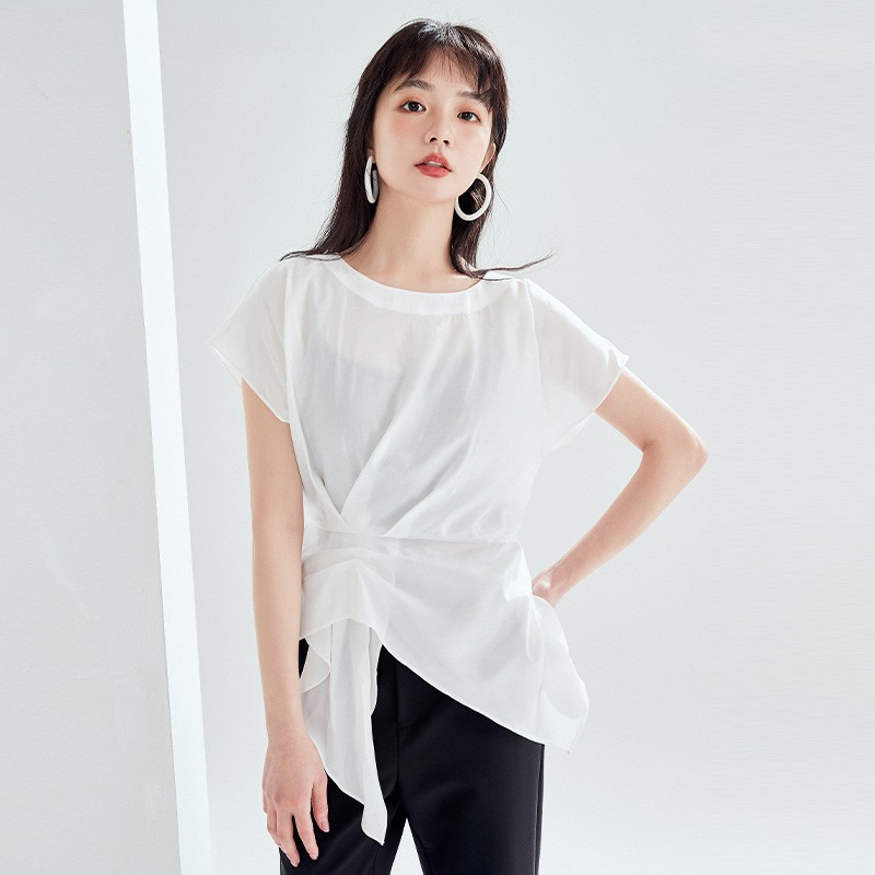 金苑女装衬衫设计感小众夏装新款宽松v领上衣显瘦收腰A2021133