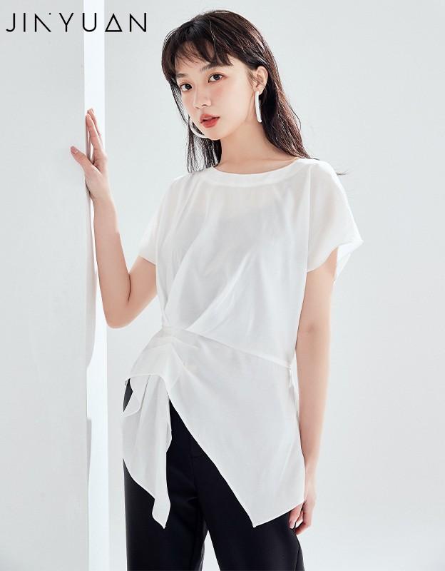 金苑女装衬衫设计感小众夏装新款宽松v领上衣显瘦收腰A2021137