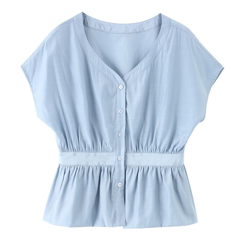 金苑上衣女夏季新款女装百搭气质宽松V领收腰女雪纺衫A2021016