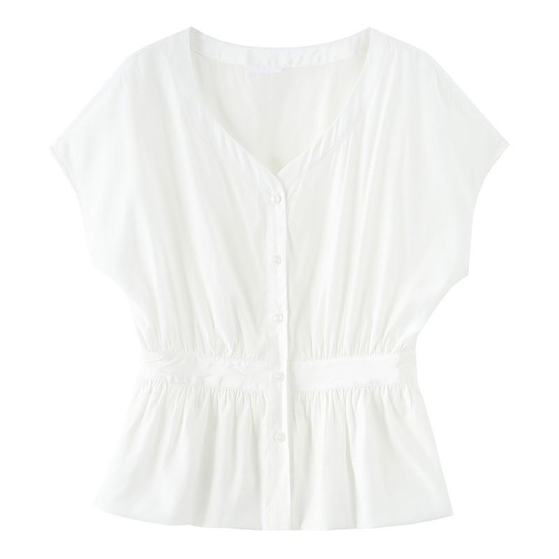 金苑上衣女夏季新款女装百搭气质宽松V领收腰女雪纺衫A20210112