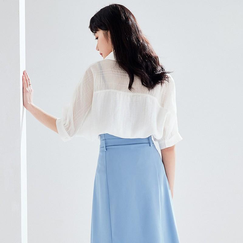 金苑2020新款夏女装长袖减龄小心机上衣女气质百搭雪纺衫A2021055
