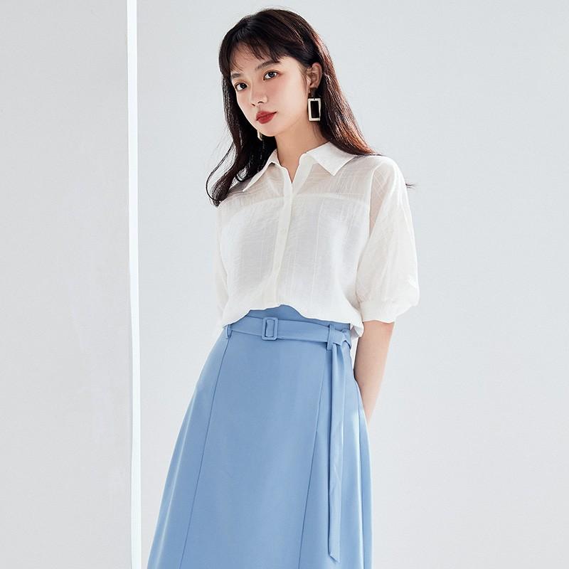 金苑2020新款夏女装长袖减龄小心机上衣女气质百搭雪纺衫A2021053
