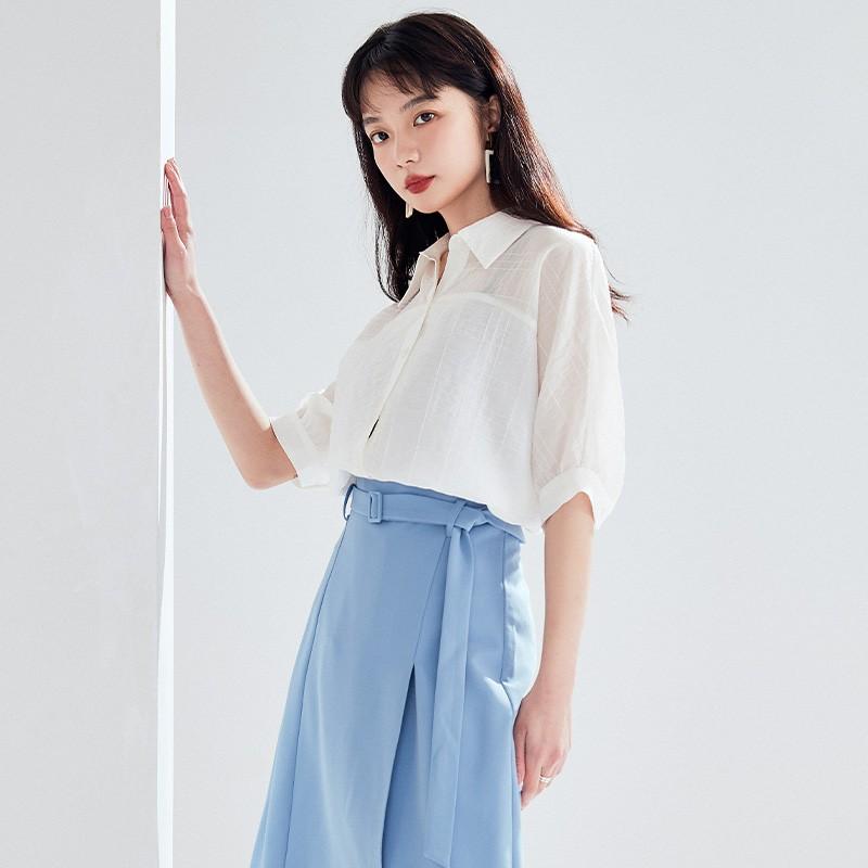 金苑2020新款夏女装长袖减龄小心机上衣女气质百搭雪纺衫A2021054