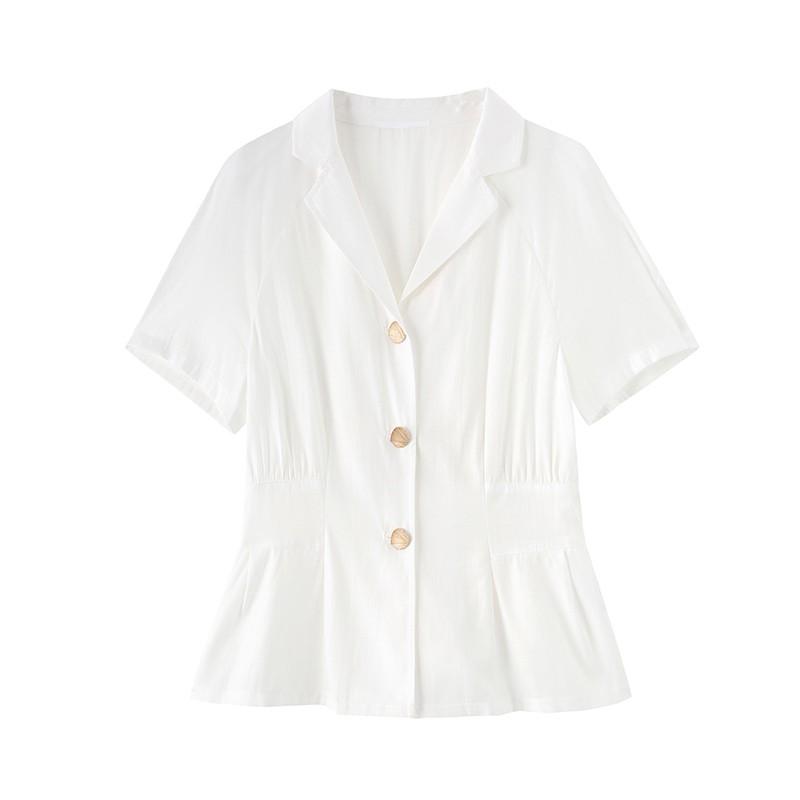 金苑女装雪纺衫女新款法式收腰显瘦小衫V领小香风上衣A2021065