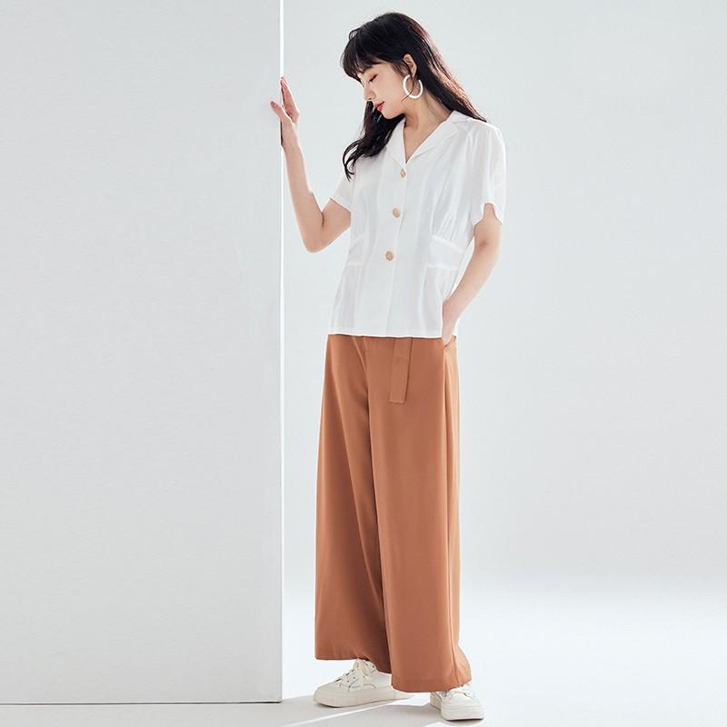 金苑女装雪纺衫女新款法式收腰显瘦小衫V领小香风上衣A2021063