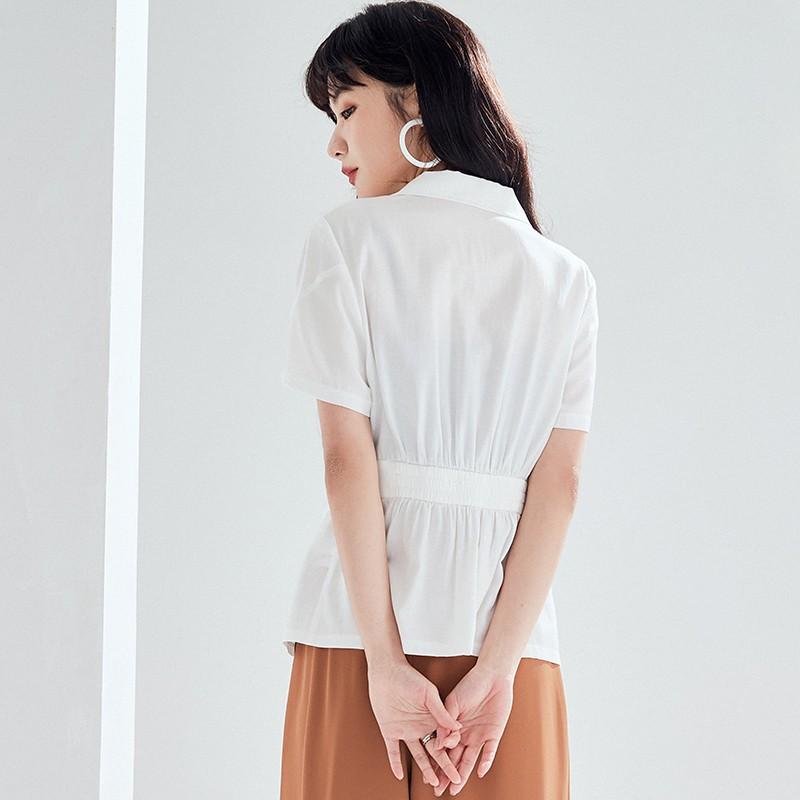 金苑女装雪纺衫女新款法式收腰显瘦小衫V领小香风上衣A2021062