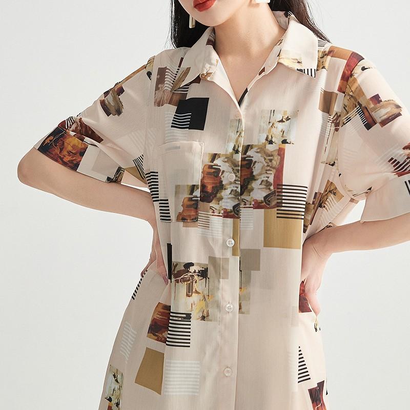 金苑正品女装衬衫复古港味女新款韩版宽松潮洋气上衣A2021074