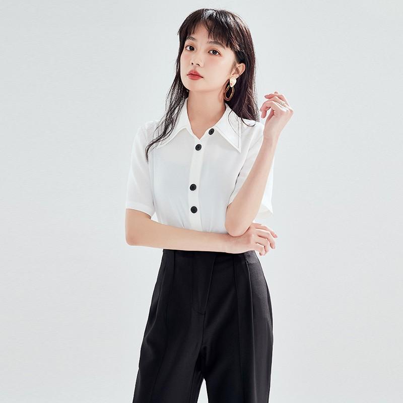 金苑正品女衬衫夏季新款女装通勤韩版显瘦上衣女OL气质仙A2021092