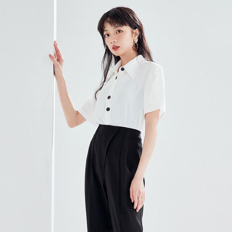 金苑正品女衬衫夏季新款女装通勤韩版显瘦上衣女OL气质仙A2021093