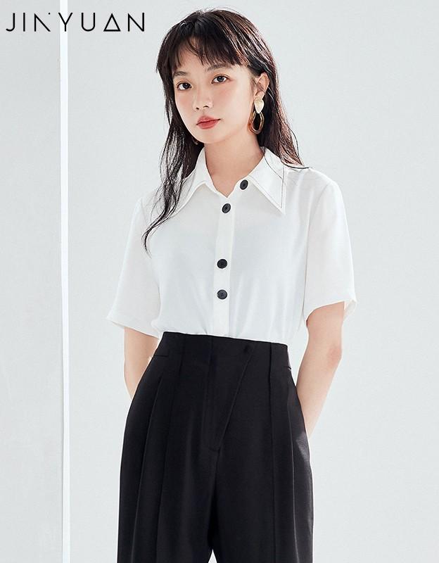金苑正品女衬衫夏季新款女装通勤韩版显瘦上衣女OL气质仙A2021097