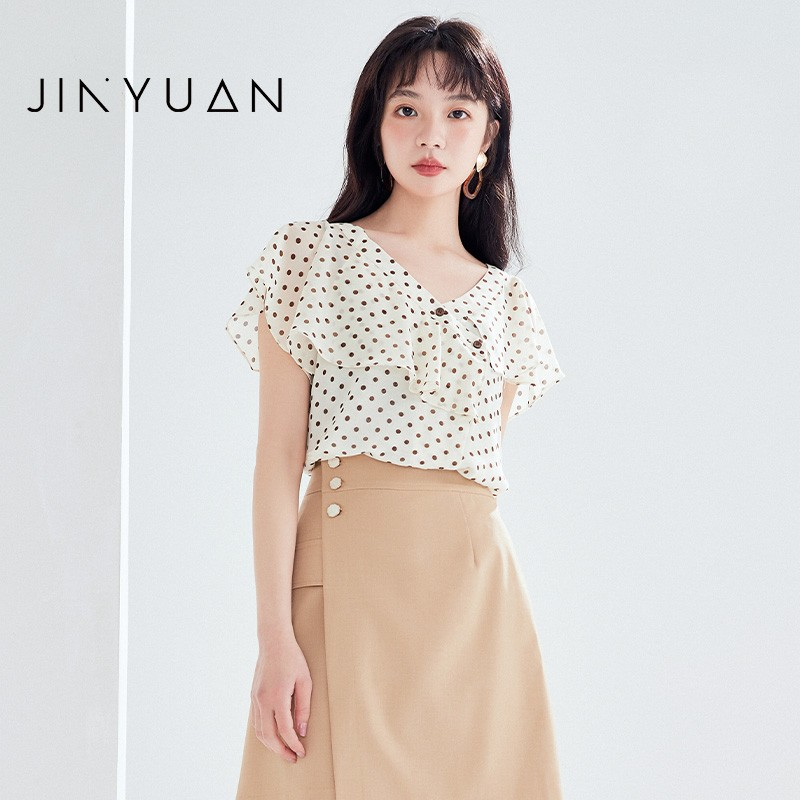 金苑女装2020新款夏季显瘦小众上衣仙女超仙减龄雪纺衬衣A2021109