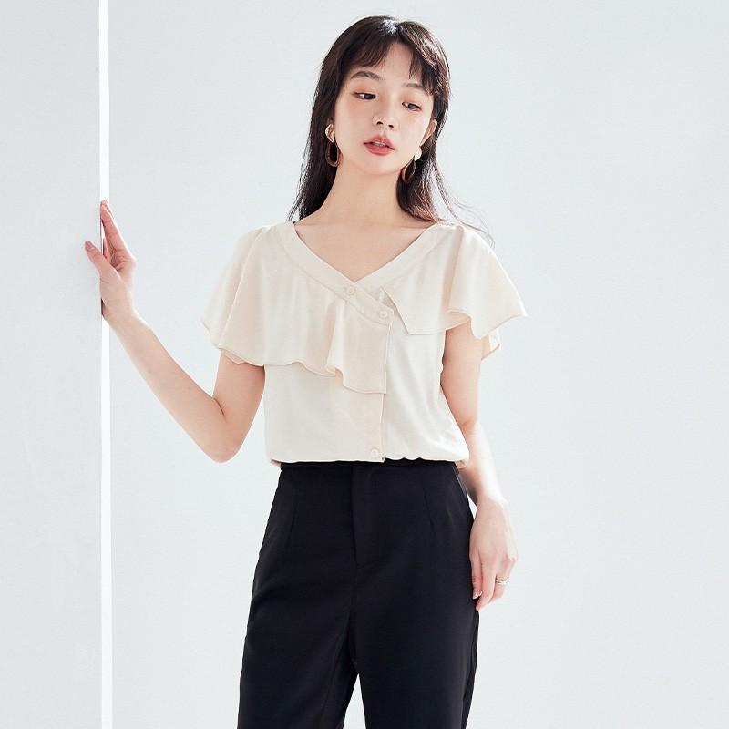 金苑女装2020新款夏季显瘦小众上衣仙女超仙减龄雪纺衬衣A2021102