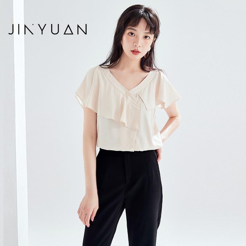 金苑女装2020新款夏季显瘦小众上衣仙女超仙减龄雪纺衬衣A2021101