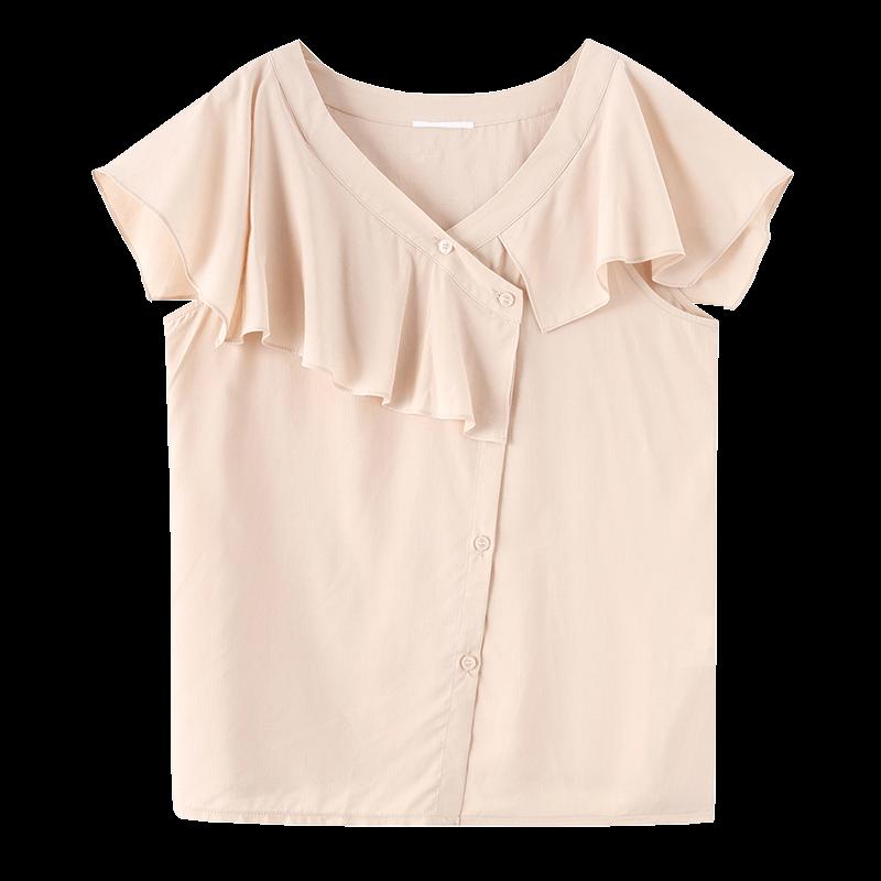 金苑女装2020新款夏季显瘦小众上衣仙女超仙减龄雪纺衬衣A2021108