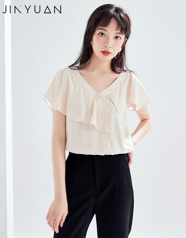 金苑女装2020新款夏季显瘦小众上衣仙女超仙减龄雪纺衬衣A2021107